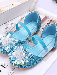 cheap -Girls' Flats Comfort Flower Girl Shoes Halloween PU Little Kids(4-7ys) Daily Party & Evening Sparkling Glitter Sequin Hollow-out Blue Pink Silver Spring Summer / Rubber