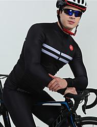 cheap -BOESTALK Men's Long Sleeve Cycling Jersey with Bib Tights Cycling Jersey Black Violet Stripes Bike Thermal / Warm Breathable Back Pocket Winter Sports Fleece Stripes Mountain Bike MTB Road Bike