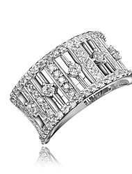 cheap -Women's Ring Micro Pave Ring Cubic Zirconia 1pc Gold Silver 18K Gold Plated Imitation Diamond Round Stylish Luxury Romantic Party Engagement Jewelry Hollow Out Lovely