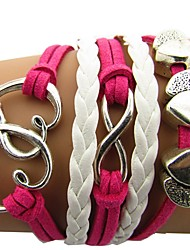 Недорогие -Муж. Жен. Wrap Браслеты Плетение Сердце Хип-хоп Шнур Браслет Ювелирные изделия Розовый Назначение Подарок Повседневные