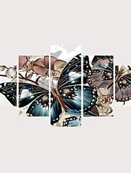 Недорогие -С картинкой Роликовые холсты Отпечатки на холсте - Бабочки Романтика Современный Modern 5 панелей Репродукции