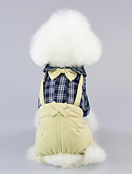 cheap -Dogs Cats Pets Pants Holiday Decorations Shirt Dog Clothes Yellow Beige Costume Corgi Beagle Bulldog Padded Fabric Cotton Jacquard Natural Sponges Plaid / Check Classic Bowknot Classic Casual / Daily