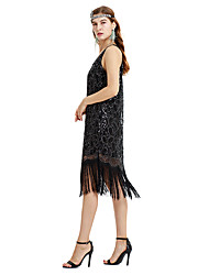 cheap -Cosplay The Great Gatsby Charleston Vintage 1920s Flapper Dress Dress Women's Sequins Tassel Sequin Costume Black Vintage Cosplay Party Prom Festival Sleeveless Tea Length Princess