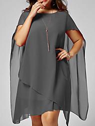 abordables -Femme Mi-long Mince Balançoire Chemise Robe Noir Rouge L XL XXL Sans Manches
