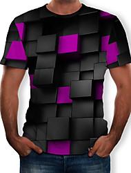 Недорогие -Муж. Геометрический принт 3D С принтом Футболка Черный
