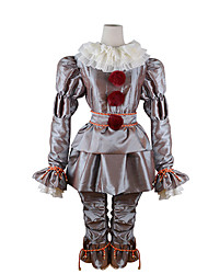 cheap -Burlesque Clown Pennywise Cosplay Costume Outfits Adults' Men's Cosplay Halloween Halloween Carnival Masquerade Festival / Holiday Polyster Silver Men's Women's Carnival Costumes Solid Colored / Top