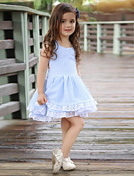 cheap -Baby Girls' Active / Chinoiserie Daily Solid Colored Lace / Backless / Bow Sleeveless Knee-length Cotton Dress Blue / Layered / Ruffle / Toddler