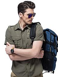 cheap -Men's Hiking Shirt / Button Down Shirts Short Sleeve Outdoor Breathable Quick Dry Multi Pocket Convert to Short Sleeves Shirt Top Autumn / Fall Spring Terylene Army Green Khaki Cycling / Bike