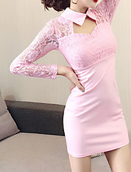 cheap -Women's Basic Chinoiserie Mini Slim Sheath Dress - Solid Colored Color Block Patchwork Shirt Collar Lace Black Blushing Pink S M L