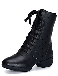 cheap -Women's Dance Shoes PU Dance Boots Boots Flat Heel White / Black / Red / Performance / Practice