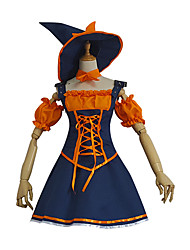 cheap -Witch Dress Cosplay Costume Hat Adults' Women's Dresses Halloween Halloween Carnival Masquerade Festival / Holiday Polyster Orange Carnival Costumes Patchwork