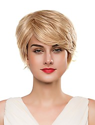 cheap -Human Hair Capless Wigs Human Hair Curly Pixie Cut / Short Hairstyles 2019 Fashionable Design / Soft / Cool Blonde Short Capless Wig Women's / Natural Hairline / Natural Hairline