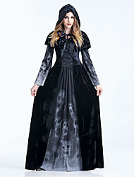cheap -Witch Dress Cosplay Costume Cloak Adults' Women's Dresses Halloween Halloween Carnival Masquerade Festival / Holiday Polyster Black Carnival Costumes Patchwork