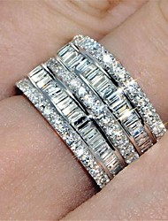 cheap -Women's Ring Eternity Band Ring spinning ring Cubic Zirconia 1pc Silver Brass Round Fashion Iced Out Wedding Party Jewelry Classic Lovely