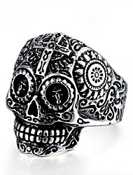 cheap -Men's Statement Ring 1pc Gold Silver Titanium Steel Circular Punk Skeleton Halloween Event / Party Jewelry Engraved Mexican Sugar Skull Gabbra Cool