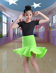 cheap -Latin Dance Kids' Dancewear Skirts Cascading Ruffles Girls' Training Performance Short Sleeve Spandex Polyester