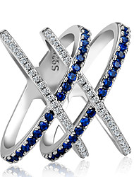 cheap -Women's Ring Eternity Band Ring Cubic Zirconia 1pc Blue Copper Silver-Plated Unique Design Party Gift Jewelry Crossover
