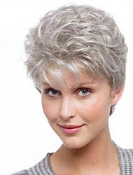 cheap -Synthetic Wig Natural Straight Asymmetrical Wig Short Grey Synthetic Hair 4 inch Women's Party Dark Gray