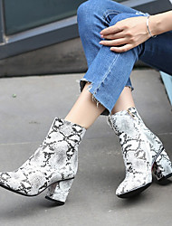cheap -Women's Boots Chunky Heel Pointed Toe Leather / Snakeskin Booties / Ankle Boots Casual Fall & Winter Gray
