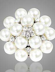 cheap -Women's Brooches Classic Flower Elegant Sweet Imitation Pearl Rhinestone Brooch Jewelry White For Wedding Festival