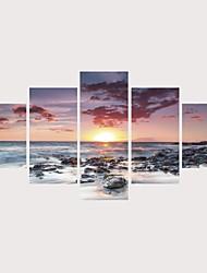 Недорогие -С картинкой Роликовые холсты Отпечатки на холсте - Пейзаж Природа Современный Modern 5 панелей Репродукции