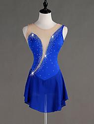 cheap -Figure Skating Dress Women's Girls' Ice Skating Dress Royal Blue Spandex Stretch Yarn Skating Wear Quick Dry Anatomic Design Handmade Classic Sleeveless Ice Skating Figure Skating