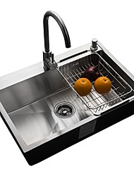 cheap -Kitchen Sink- 304 Stainless Steel Brushed Rectangular Undermount Single Bowl