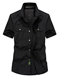 cheap -Men's Hiking Shirt / Button Down Shirts Short Sleeve Outdoor Lightweight Quick Dry Wear Resistance Multi Pocket Shirt Top Autumn / Fall Spring Cotton Green Khaki Camping / Hiking / Caving Traveling