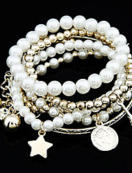 cheap -Women's Bead Bracelet Wrap Bracelet Layered Tower Star Eiffel Tower Elegant Fashion Imitation Pearl Bracelet Jewelry Gold / Silver For Party Daily