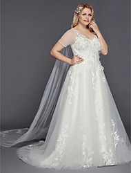 cheap -A-Line Floor Length Tulle Short Sleeve Made-To-Measure Wedding Dresses with Appliques 2020