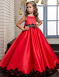 cheap -Ball Gown Maxi Flower Girl Dress - Cotton Blend / Tulle Sleeveless Jewel Neck with Pattern / Print / Pleats
