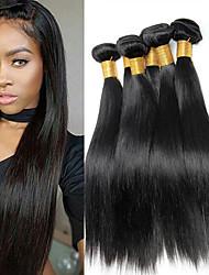 cheap -6 Bundles Brazilian Hair Straight Unprocessed Human Hair Headpiece Natural Color Hair Weaves / Hair Bulk Bundle Hair 8-28 inch Natural Color Human Hair Weaves Odor Free Safety Soft Human Hair