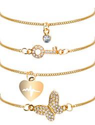 cheap -4pcs Women's Vintage Bracelet Earrings / Bracelet Pendant Bracelet Layered Heart Butterfly Classic Vintage Casual / Sporty Fashion Cute Rhinestone Bracelet Jewelry Gold For Daily School Street Going