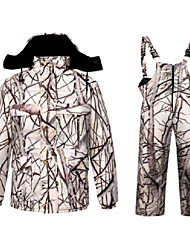 cheap -Men's Hunting Jacket with Pants Outdoor Fleece Lining Warm Anti-Wear Thick Winter Camo Clothing Suit Cotton 100% Polyester Hunting Fishing Camping / Hiking / Caving Camouflage Color Camouflage