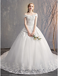 cheap -Ball Gown Wedding Dresses Off Shoulder Court Train Tulle Lace Over Satin Short Sleeve Glamorous Illusion Detail with Crystals Beading Appliques 2020