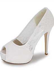 cheap -Women's Wedding Shoes Spring / Summer Stiletto Heel Peep Toe Minimalism Wedding Party & Evening Braided Lace White / Black / Red