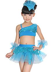 cheap -Latin Dance Kids' Dancewear Hair Jewelry Sash / Ribbon Split Joint Paillette Girls' Training Performance Sleeveless Mesh Polyester