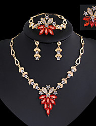 cheap -Women's Drop Earrings Pendant Necklace Band Ring Classic Vintage Elegant everyday fancy Rhinestone Gold Plated Earrings Jewelry Red / Green For Party Holiday 1 set / Bracelet / Bridal Jewelry Sets