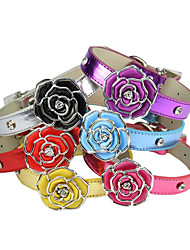 cheap -Dogs Cats Collar Adjustable Foldable Rhinestone Flower PU Leather / Polyurethane Leather Silver Red Blue