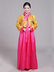 abordables -Hanbok Girl Adulte Femme Asiatique Coréen traditionnel Jeogori Hanbok Magoja Pour Soirée de Fiançailles Enterrement de Vie de Jeune Fille Polyester Longueur Sol Manteau Jupe Cravate