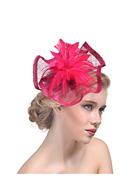 cheap -Women's Ladies Tiaras Fascinators For Wedding Party / Evening Prom Princess Feather Fabric Purple Blushing Pink Fuchsia