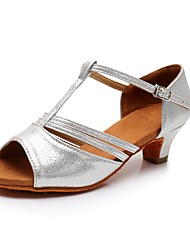 cheap -Women's Latin Shoes Sandal Heel Buckle Thick Heel Gold Silver T-Strap Ankle Strap / Performance / Practice