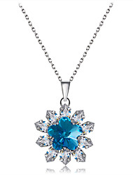 cheap -Women's Clear Blue Crystal Pendant Necklace Flower Sweet Fashion Elegant Copper Silver Plated Silver 41 cm Necklace Jewelry 1pc For Daily Evening Party Formal
