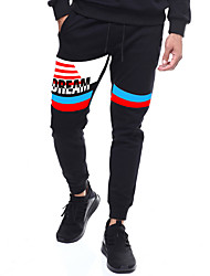 cheap -Men's Running Pants Track Pants Sports Pants Athletic Pants / Trousers Athleisure Wear Harem Drawstring Cotton Sport Gym Workout Thermal / Warm Lightweight Windproof Plus Size Black Stripes Fashion