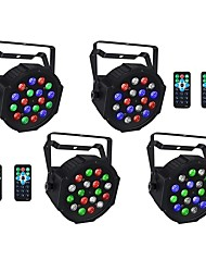 cheap -4pcs 18 W 1000-1200 lm 18 LED Beads Remote Control RC Easy Install LED Stage Light Spot Light RGB 110-240 V Ceiling Commercial Stage