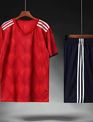 abordables -Homme Football Maillot de foot et shorts Ensembles de Sport Respirable Anti-transpiration Sports d'équipe Entraînement actif Football Rayure Polyester Adultes Rouge