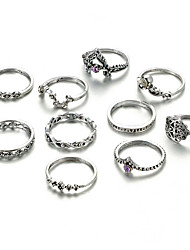 cheap -Women's Ring Set Midi Rings Stackable Rings 10pcs Silver Alloy Round Stylish Unique Design Vintage Date Street Jewelry Vintage Style