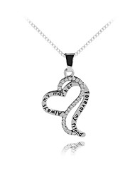 cheap -Women's Pendant Necklace Classic Heart Letter Sweet Fashion Modern Zircon Chrome Silver 45+5 cm Necklace Jewelry 1pc For Gift Daily Holiday
