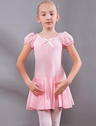 cheap -Kids' Dancewear / Ballet Dresses Girls' Training / Performance Cotton Ruching / Split Joint Short Sleeve Natural Dress