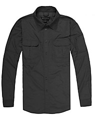 cheap -Men's Hiking Shirt / Button Down Shirts Long Sleeve Outdoor Breathable Quick Dry Roll up Sleeves Shirt Top Autumn / Fall Spring Nylon 100% Cotton Chenille Black Forest Green Coffee Traveling Indoor
